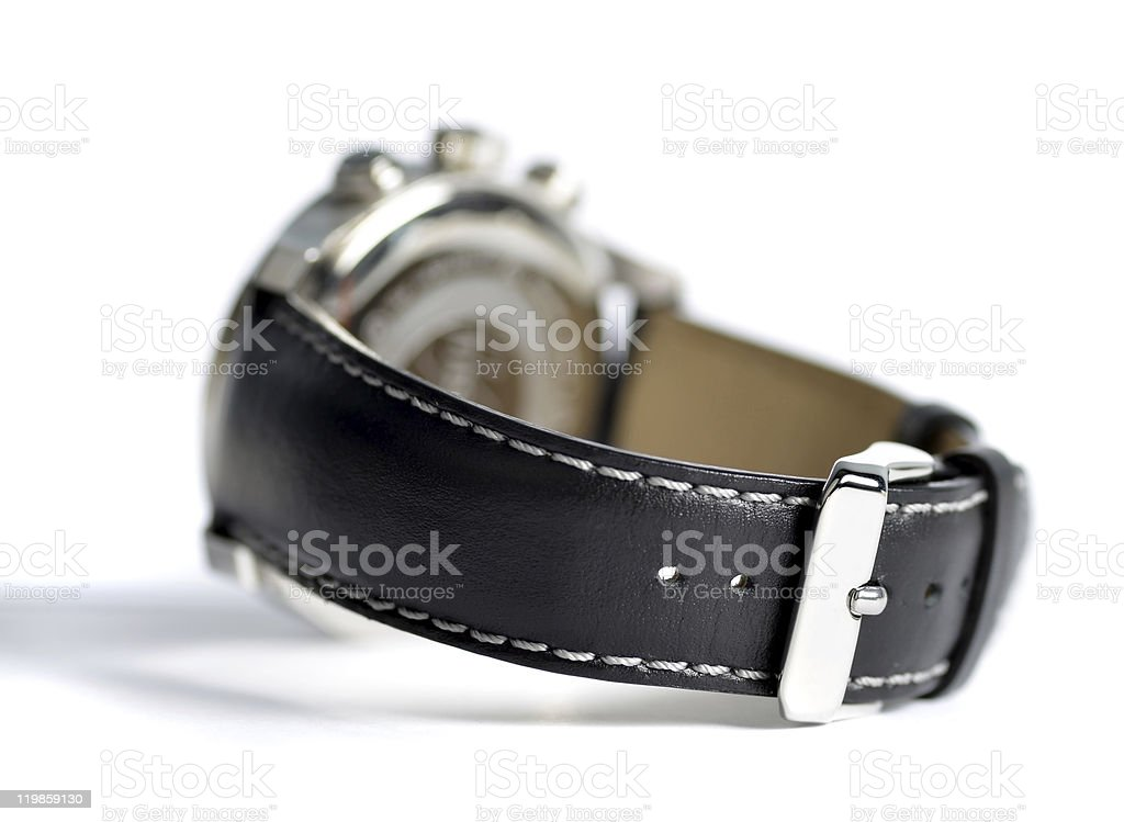 Leather wristwatch stock photo