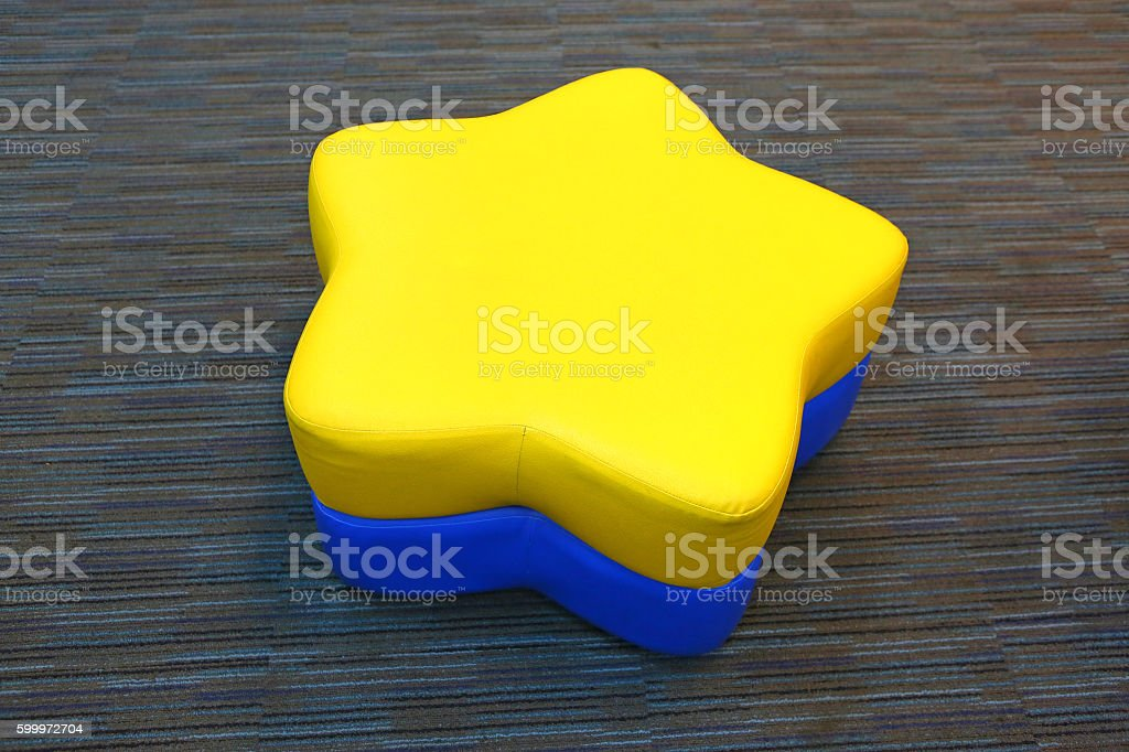 leather yellow-blue bench like the star stock photo