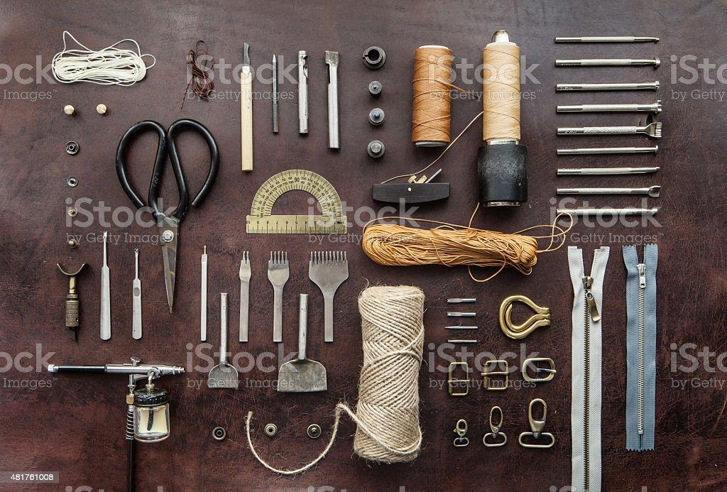 leathercraft tools stock photo