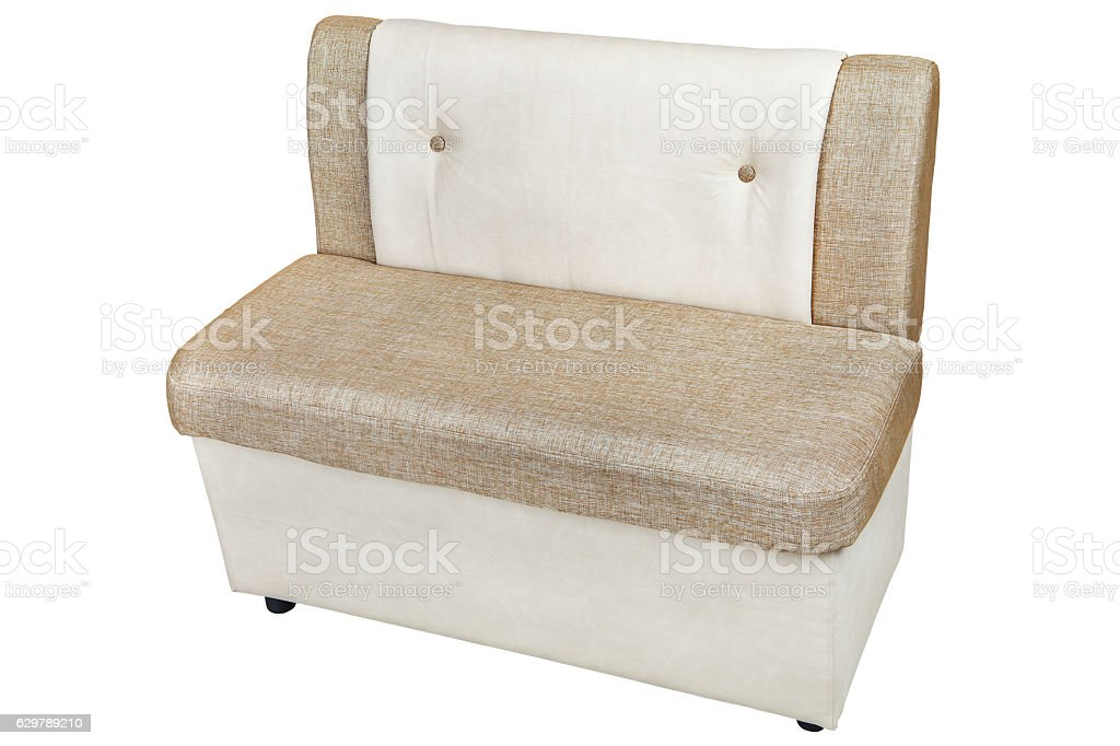 leatherette dining bench with  light brown color stock photo