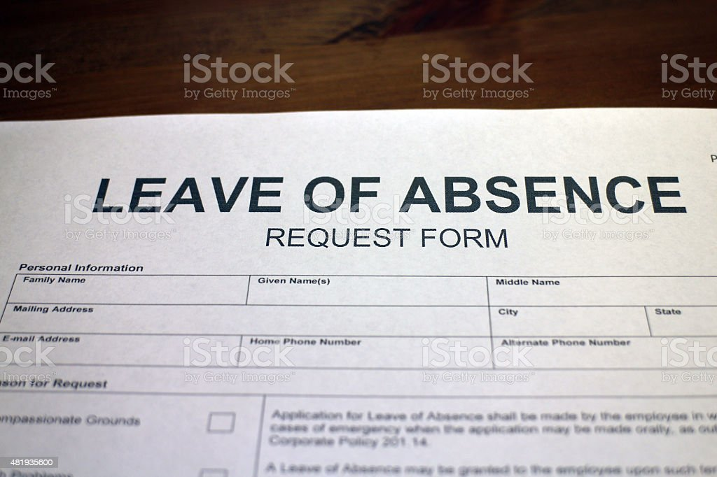 Leave of Absence Request Form - LOA stock photo