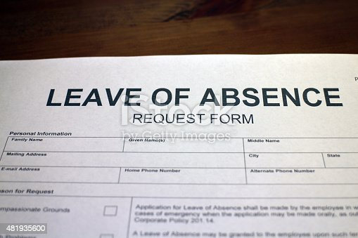 Leave Of Absence Request Form Loa Stock Photo   Istock