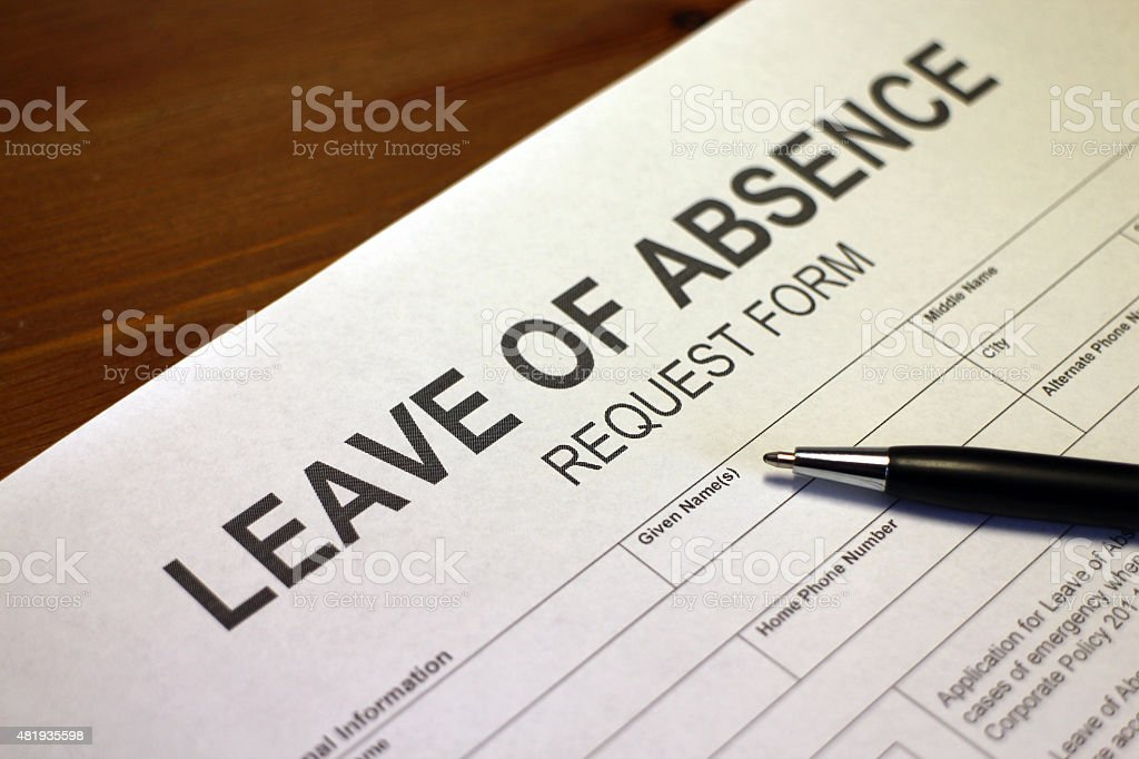 Leave of Absence Request Form stock photo