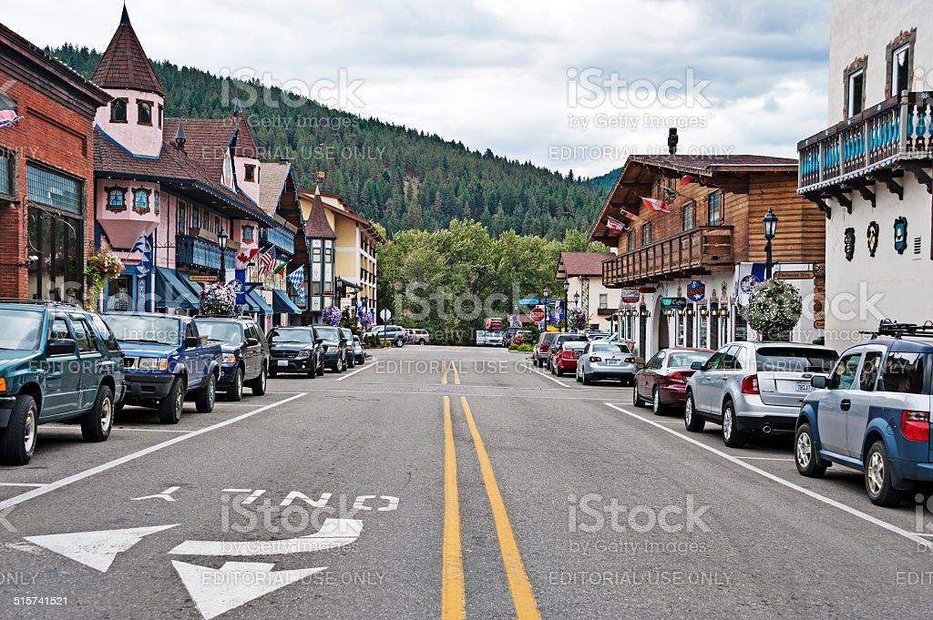 Leavenworth Front Street Bavarian style village stock photo