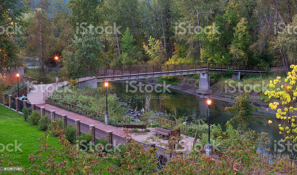 Leavenworth Waterfron Park in the Morning stock photo