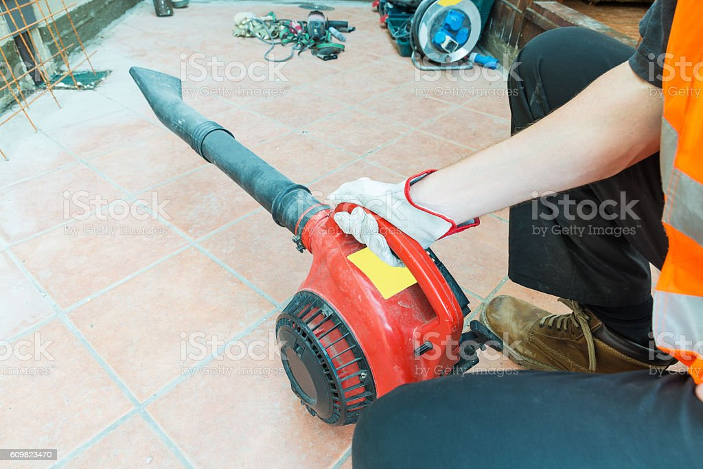 Leaves and dust blower/aspirator stock photo