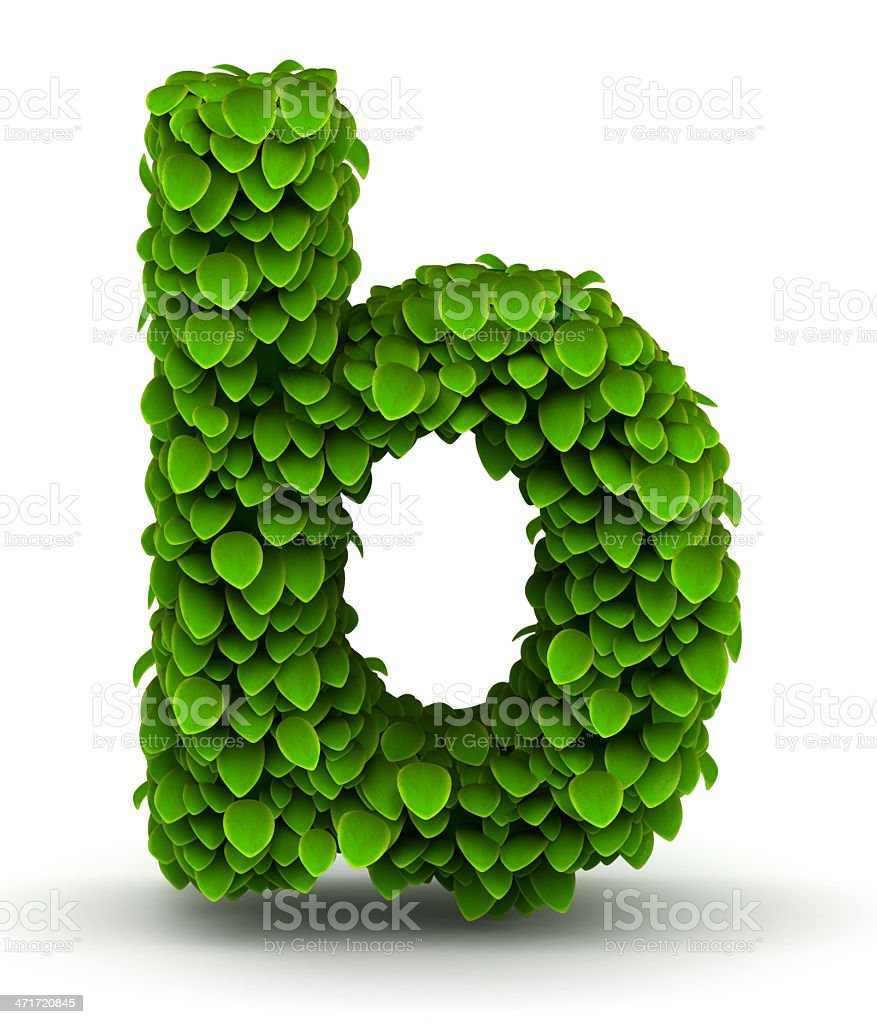 Leaves font letter b lowercase royalty-free stock photo