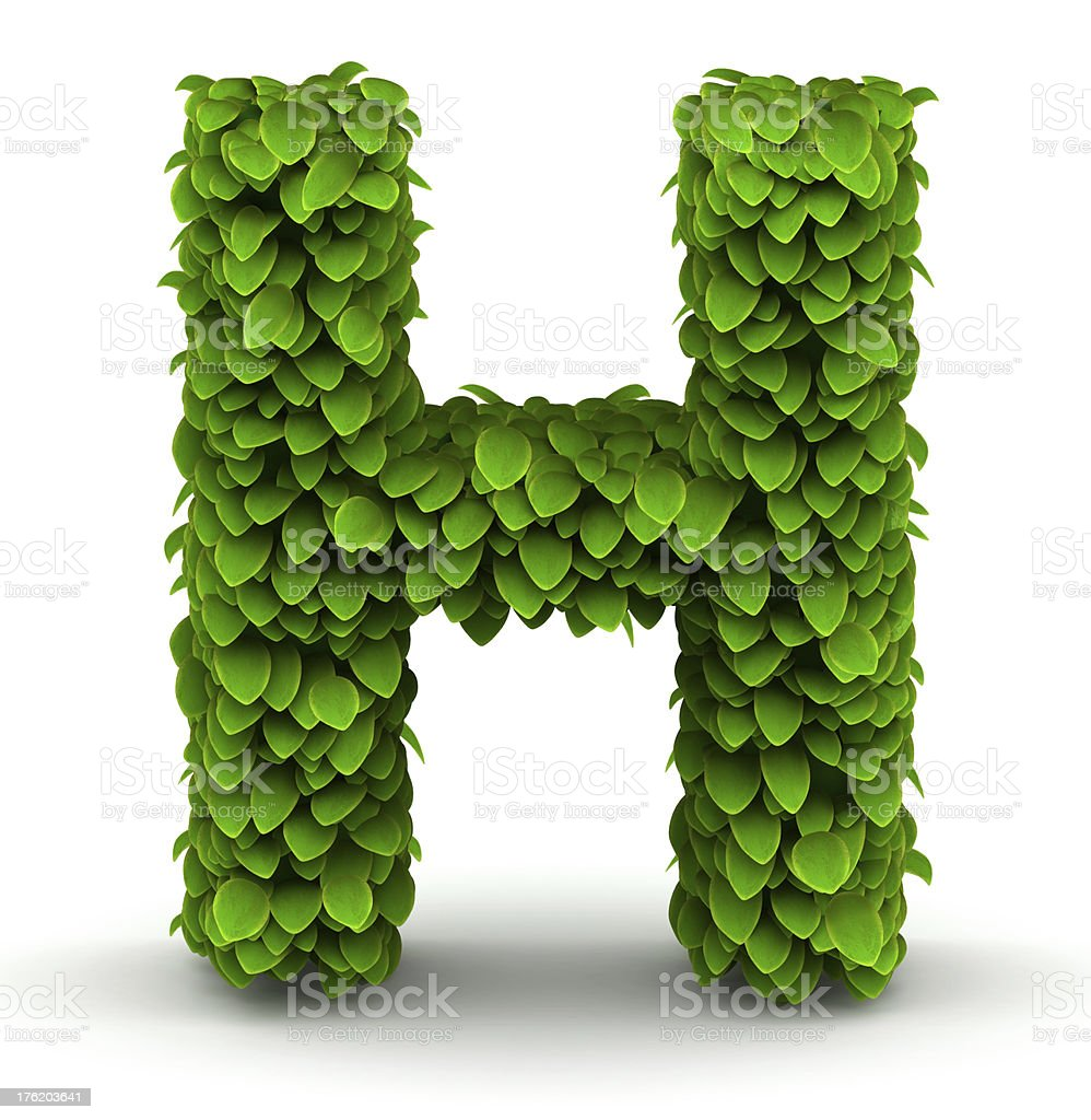 Leaves font letter H royalty-free stock photo