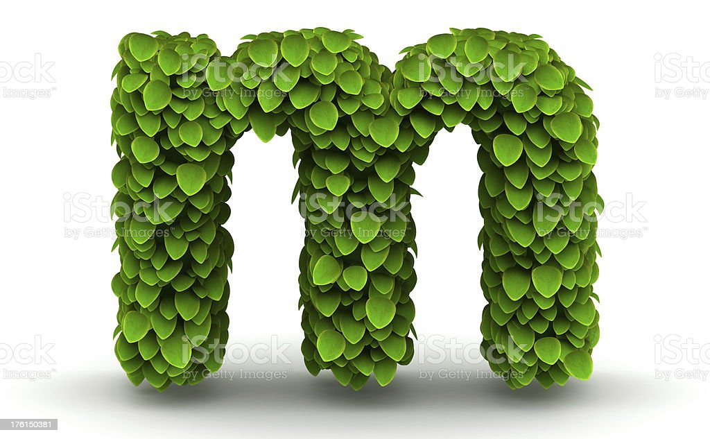 Leaves font letter m lowercase royalty-free stock photo