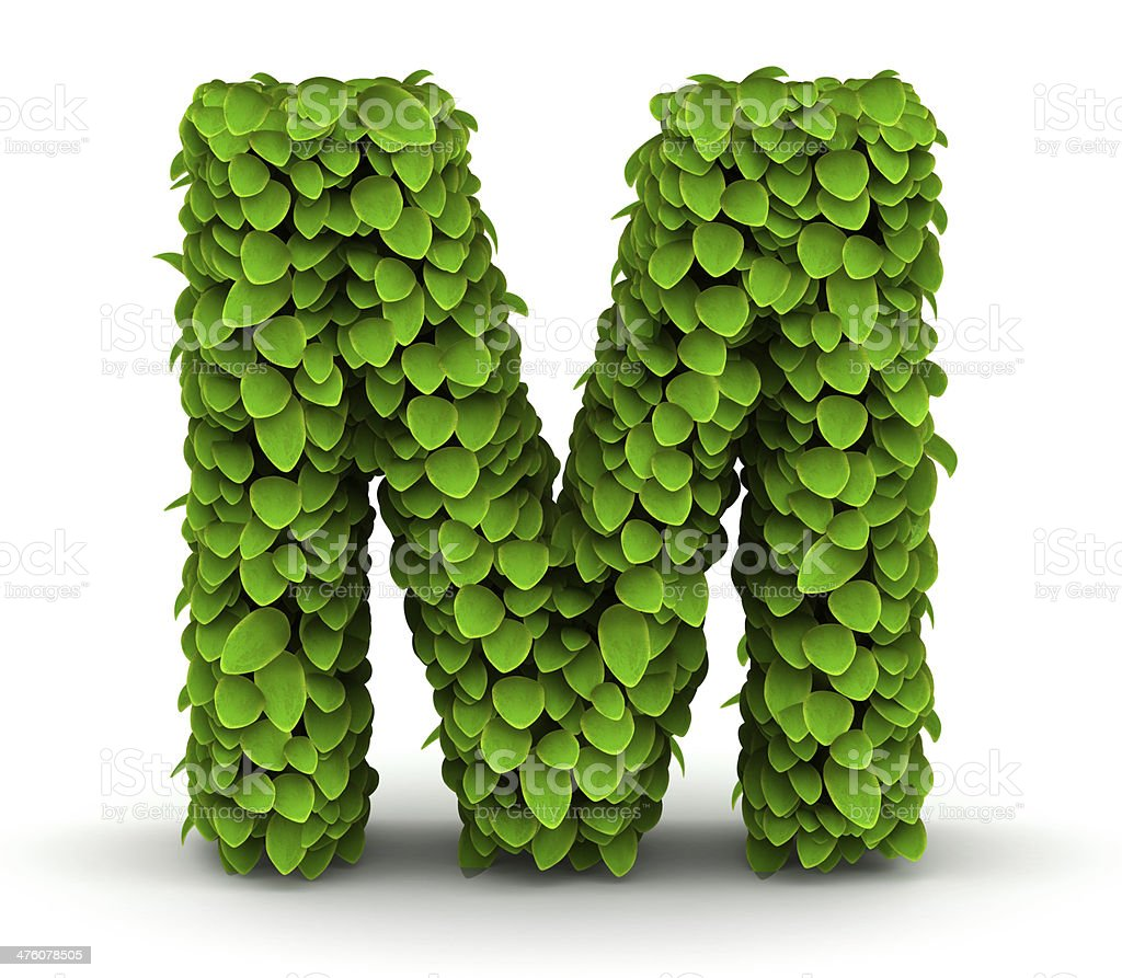 Leaves font letter M royalty-free stock photo