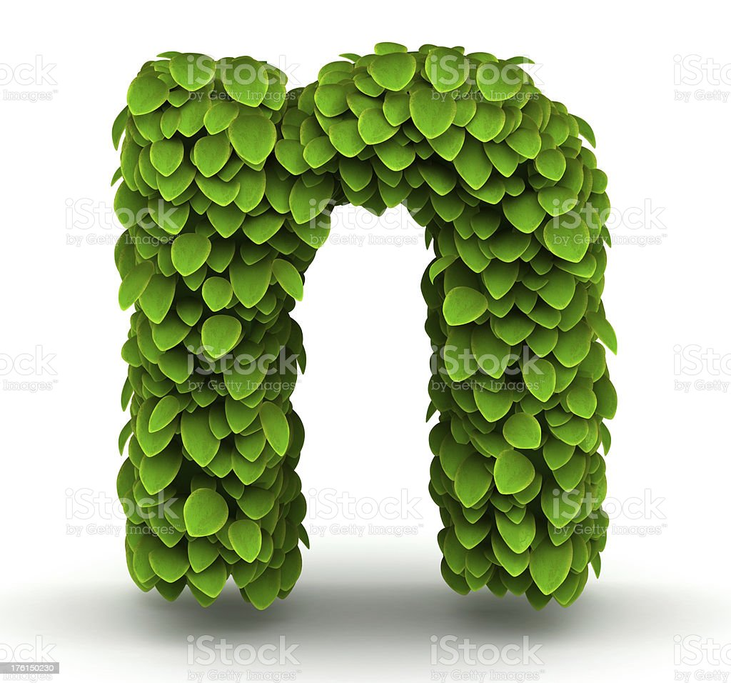 Leaves font letter n lowercase royalty-free stock photo