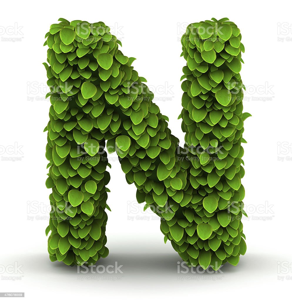 Leaves font letter N royalty-free stock photo