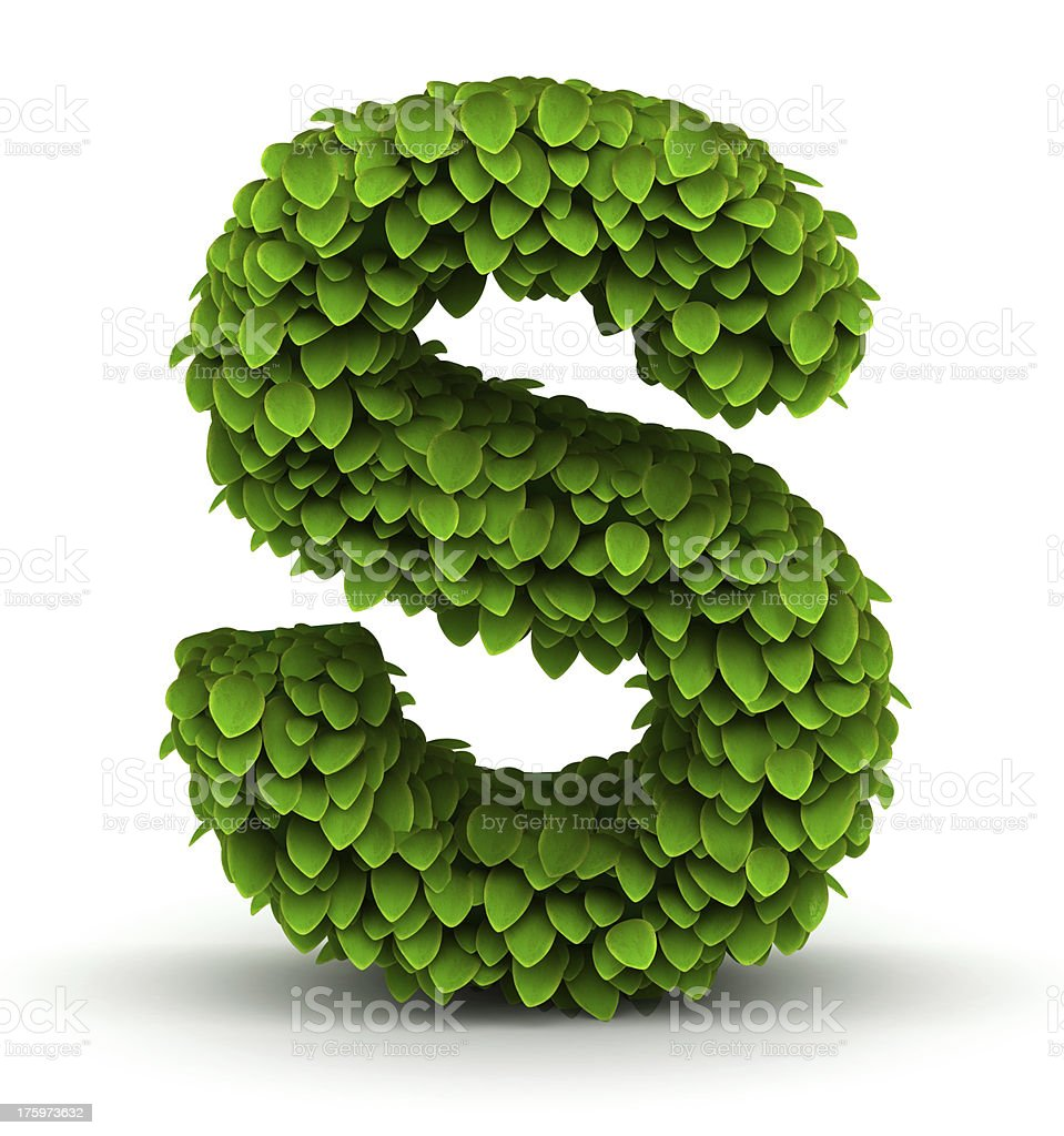 Leaves font letter S royalty-free stock photo
