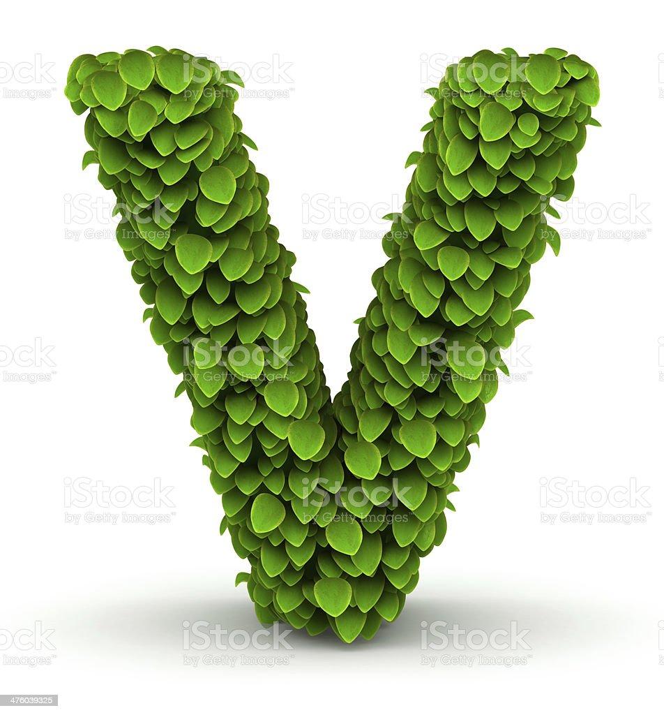 Leaves font letter V stock photo