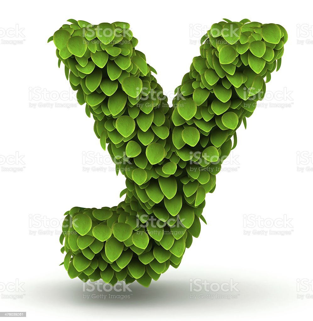 Leaves font letter y lowercase royalty-free stock photo