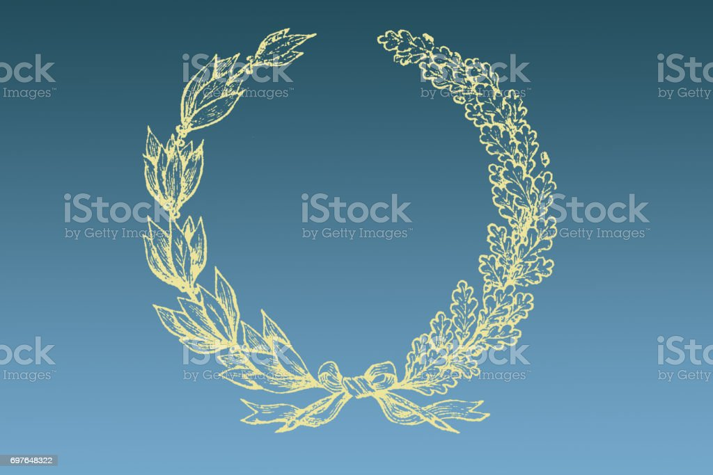 Leaves wreath with ribbon, bow design. Blue and yellow, gold background.  Greeting card. Cute vintage floral frame. Wreath of leaves with copy space stock photo