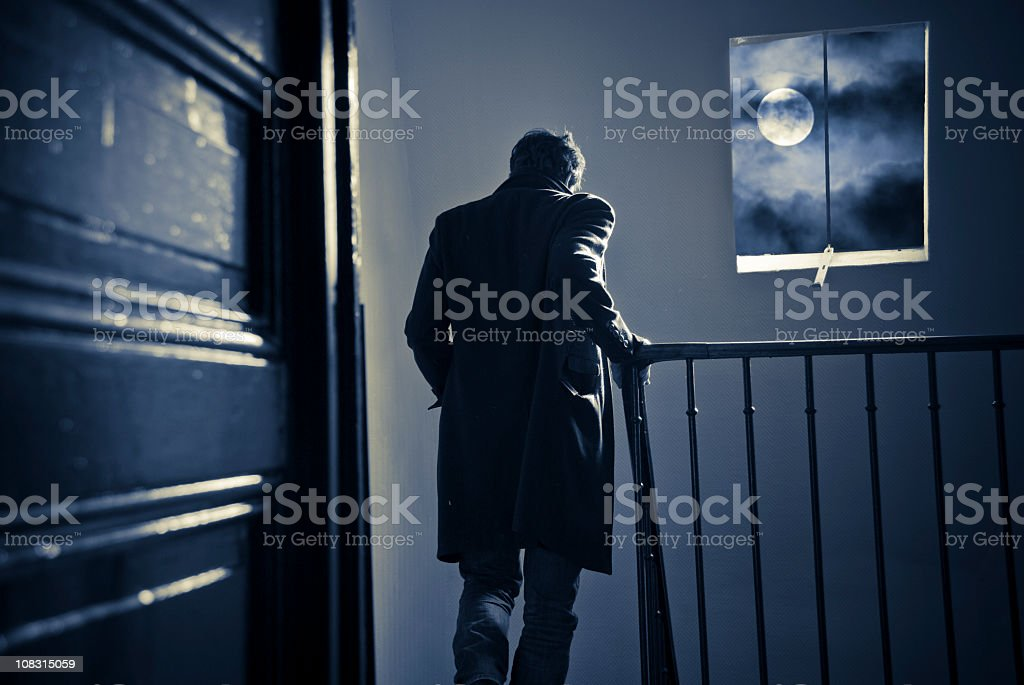 Leaving home at night stock photo