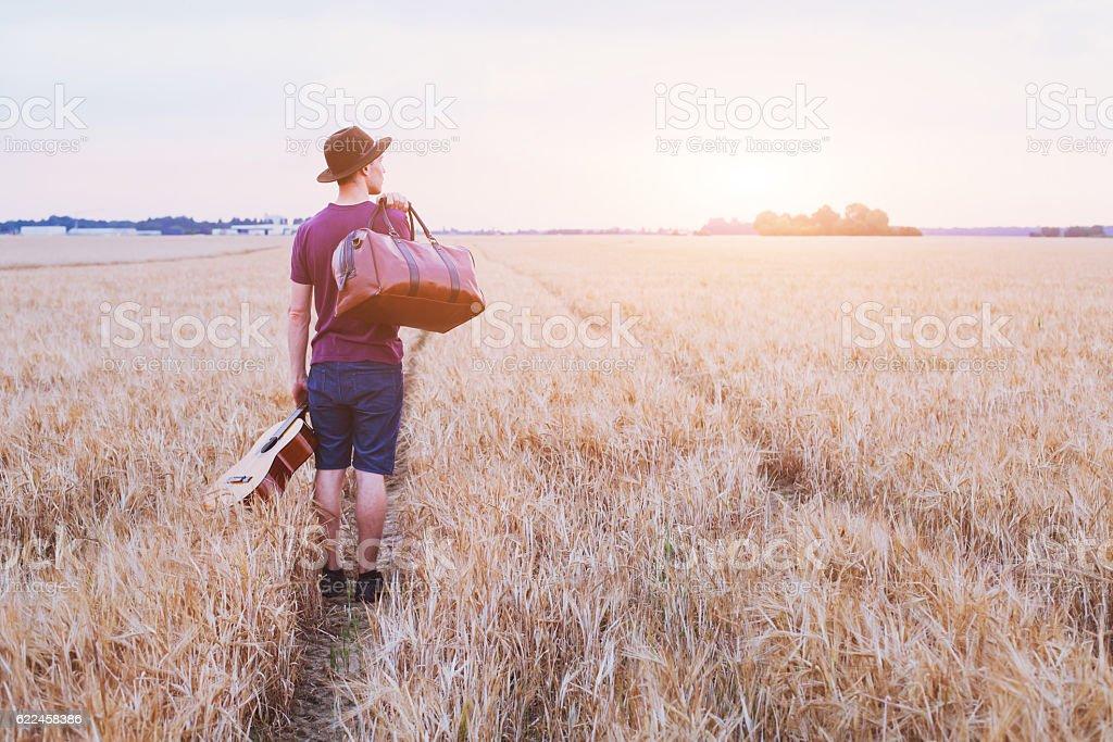 leaving home, romantic travel background stock photo