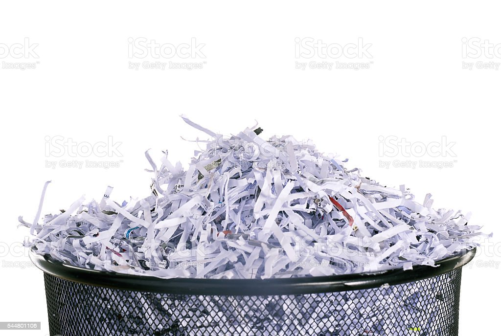 Leaving no shred of evidence stock photo