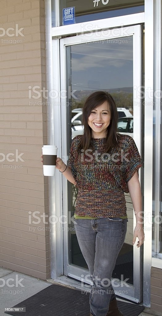 Leaving the coffee shop royalty-free stock photo