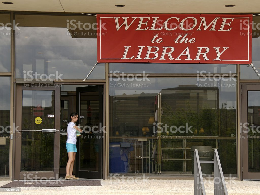 Leaving the Library royalty-free stock photo