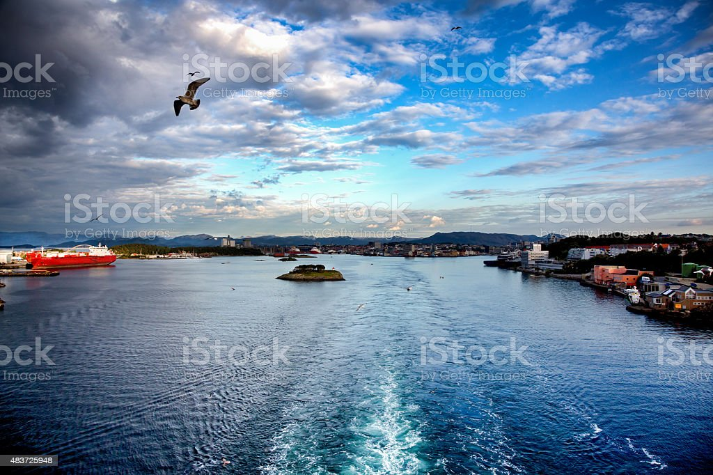 Leaving The Port of Stavanger, Norway By Boat stock photo