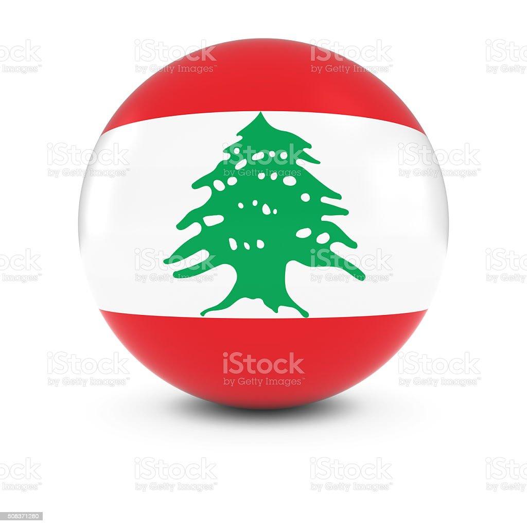 Lebanese Flag Ball - Flag of Lebanon on Isolated Sphere stock photo