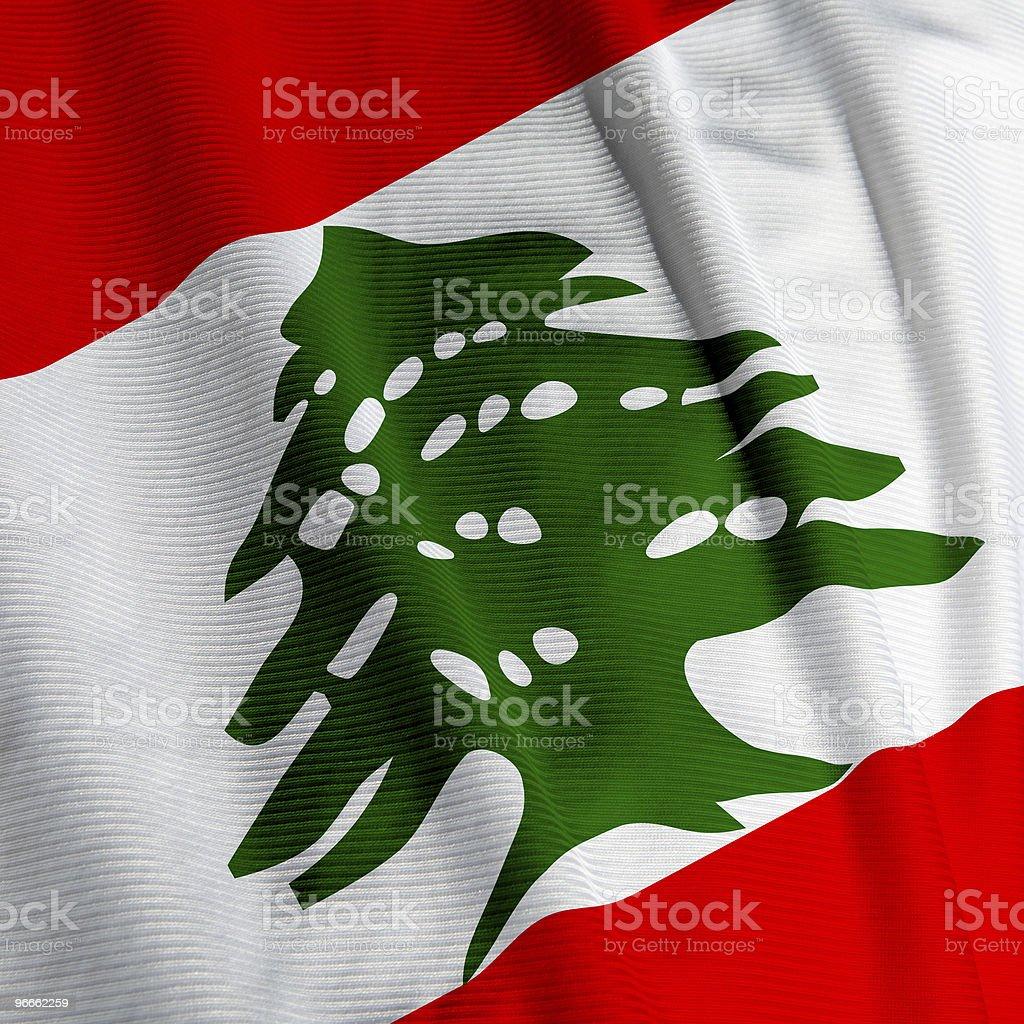 Lebanese Flag Closeup stock photo