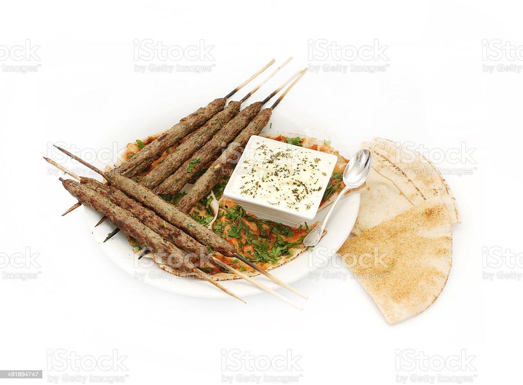 Lebanese Kebab with Yoghurt royalty-free stock photo