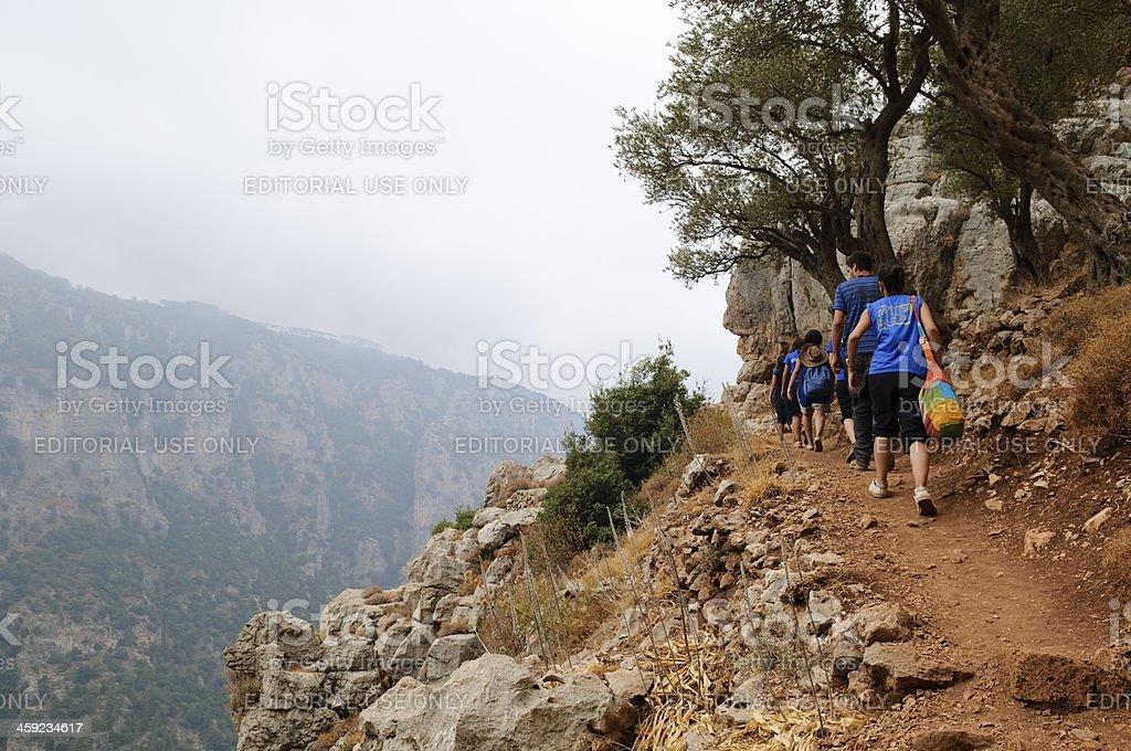Lebanese teenagers hiking in the Qadisha Valley in Lebanon stock photo