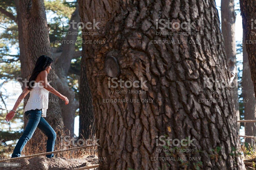 Lebanese woman walking through The Cedars of Lebanon royalty-free stock photo