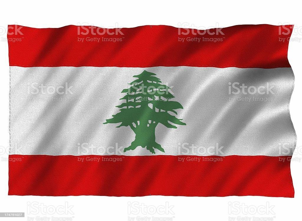 Lebanon 3D flag on white stock photo