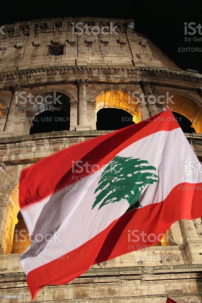 Lebanon Flag at Colosseum during Stations of the Cross stock photo