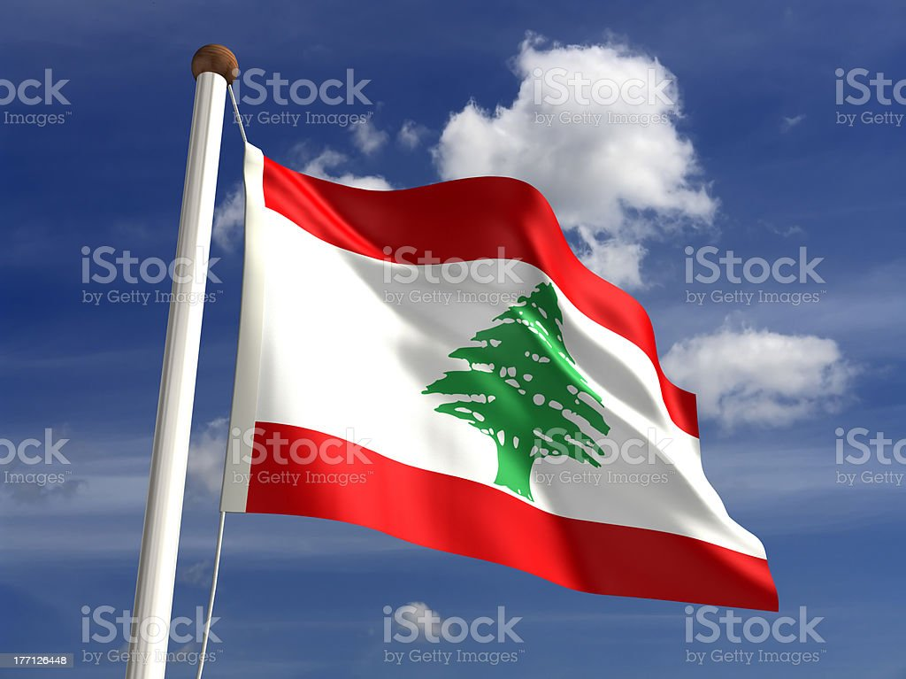 Lebanon flag (with clipping path) stock photo