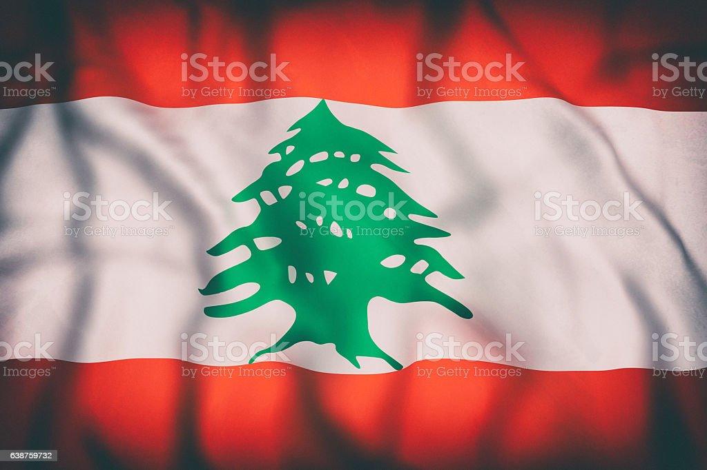 Lebanon flag waving stock photo