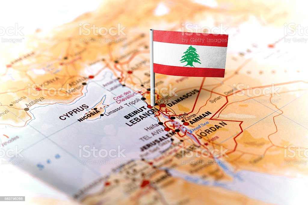 Lebanon pinned on the map with flag stock photo