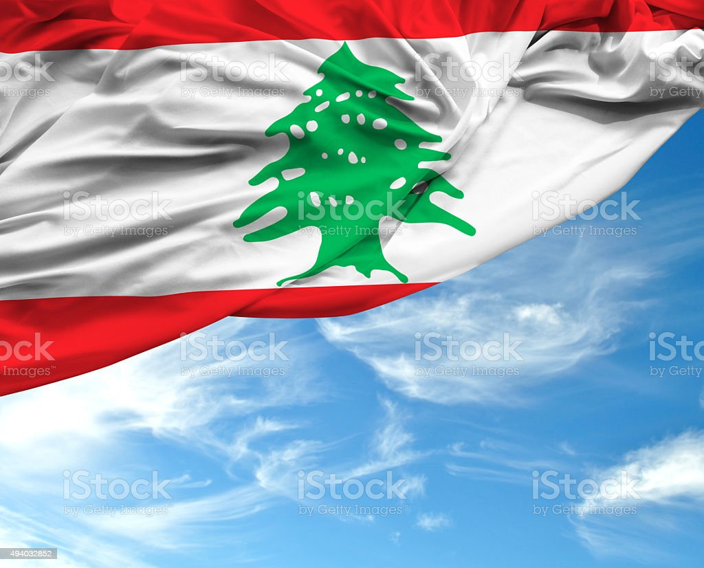 Lebanon waving flag on beautiful day stock photo