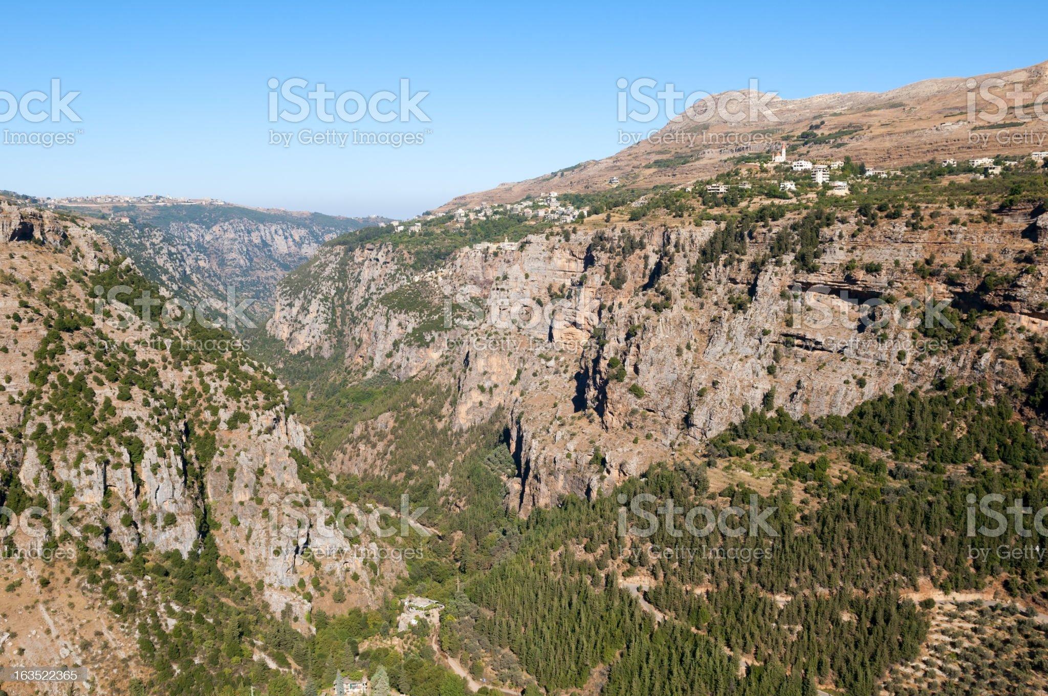Lebanon's Qadisha Valley landscape royalty-free stock photo