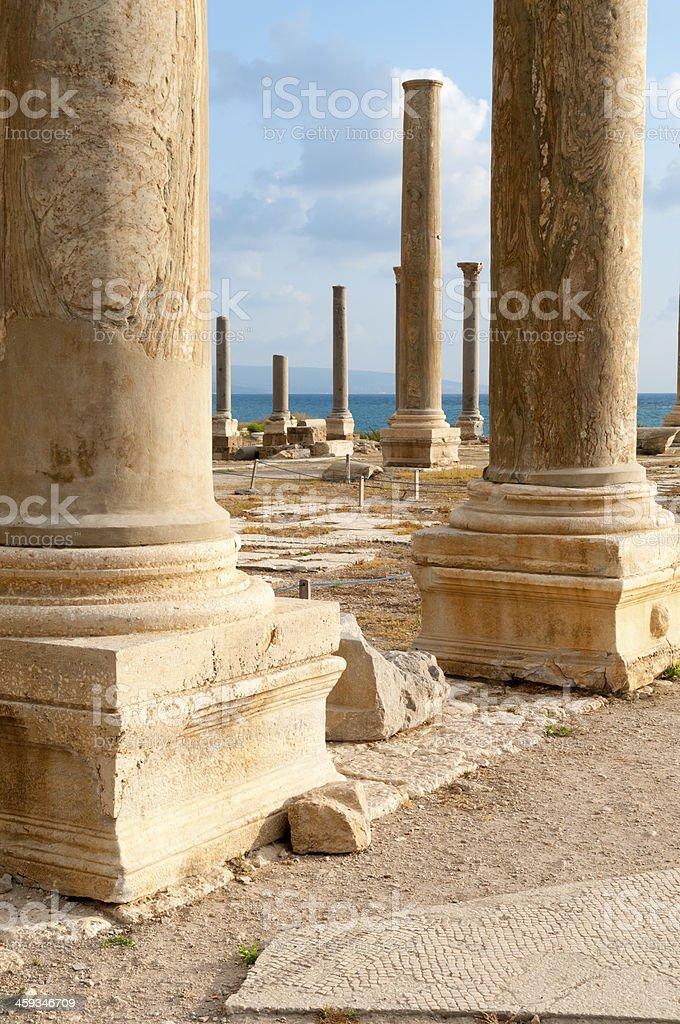 Lebanon's roman ruins in Tyre, Lebanon royalty-free stock photo