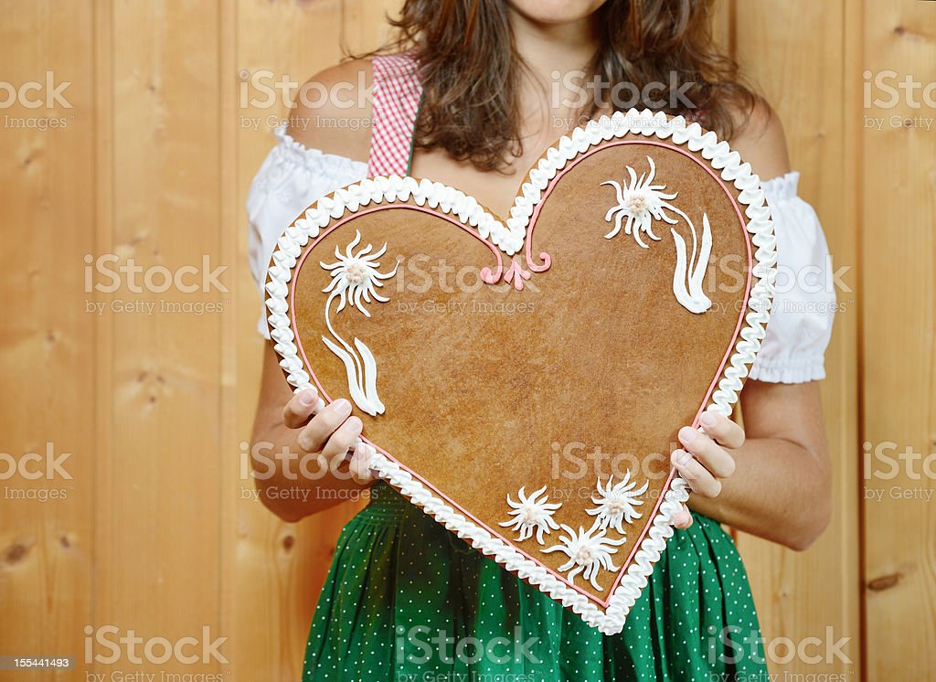 Lebkuchen Gingerbread Heart with Copy Space (XXXL) stock photo