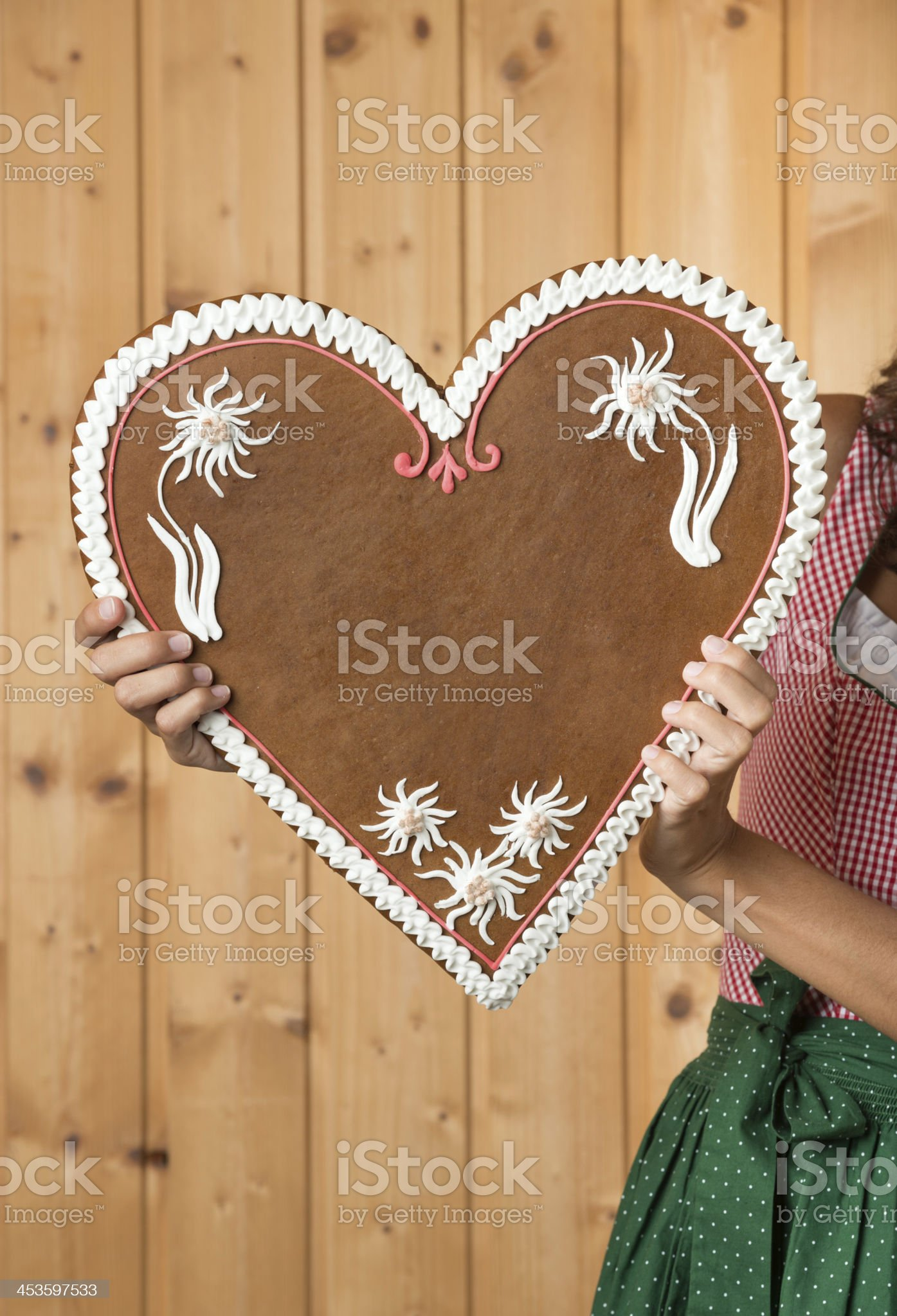 Lebkuchen Gingerbread Heart with Copy Space royalty-free stock photo