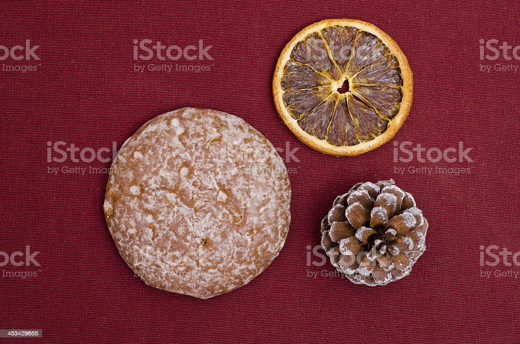 Lebkuchen on a ruby cloth royalty-free stock photo