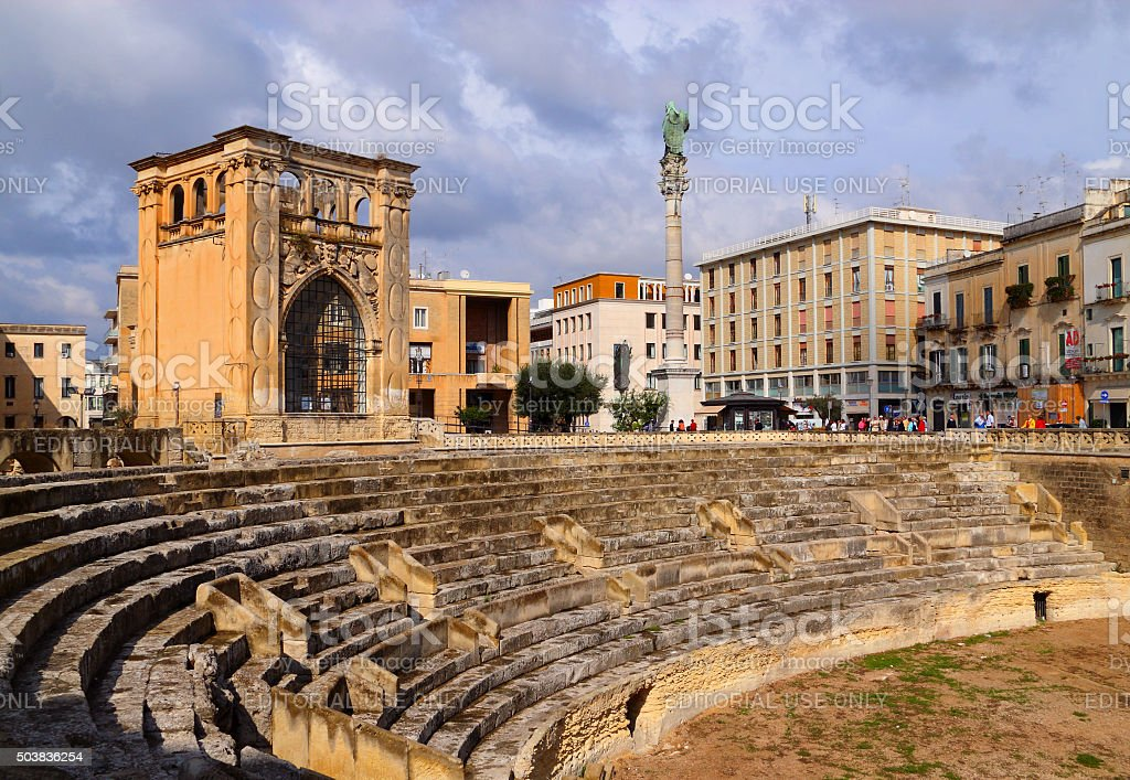 Lecce, Apulia, Italy. Roman Amphitheatre. stock photo