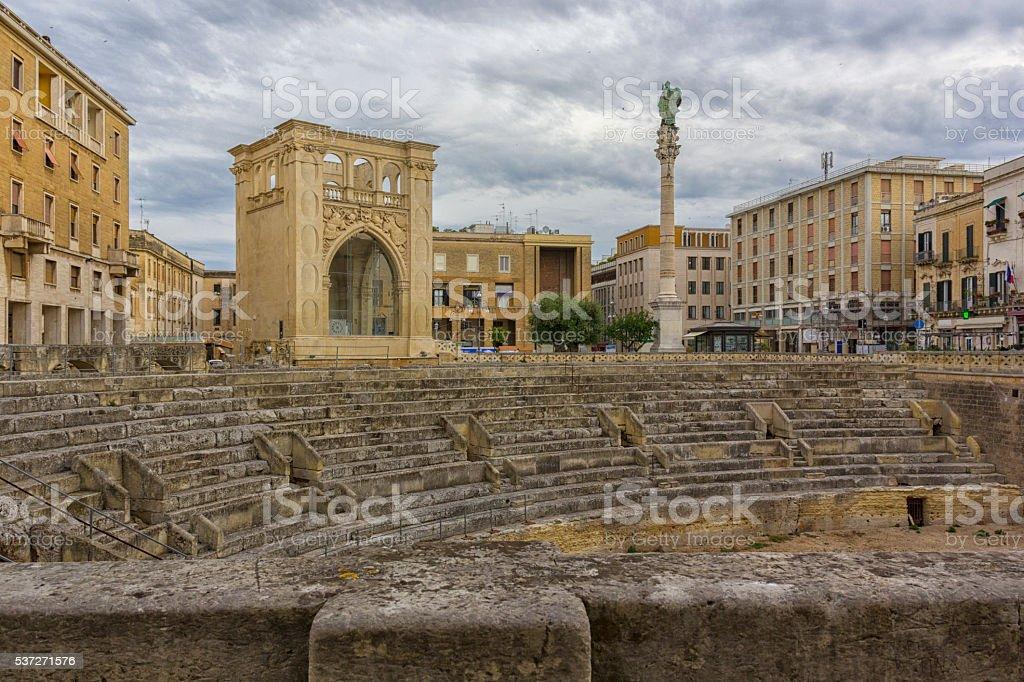 Lecce, Roman amphitheater stock photo