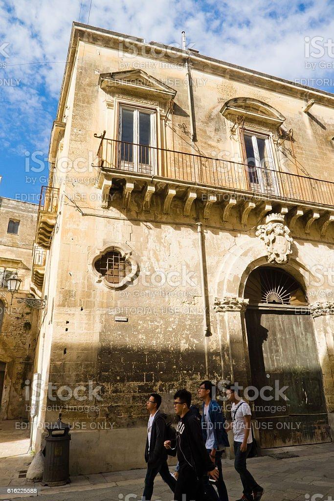 Lecce's historic center city. stock photo