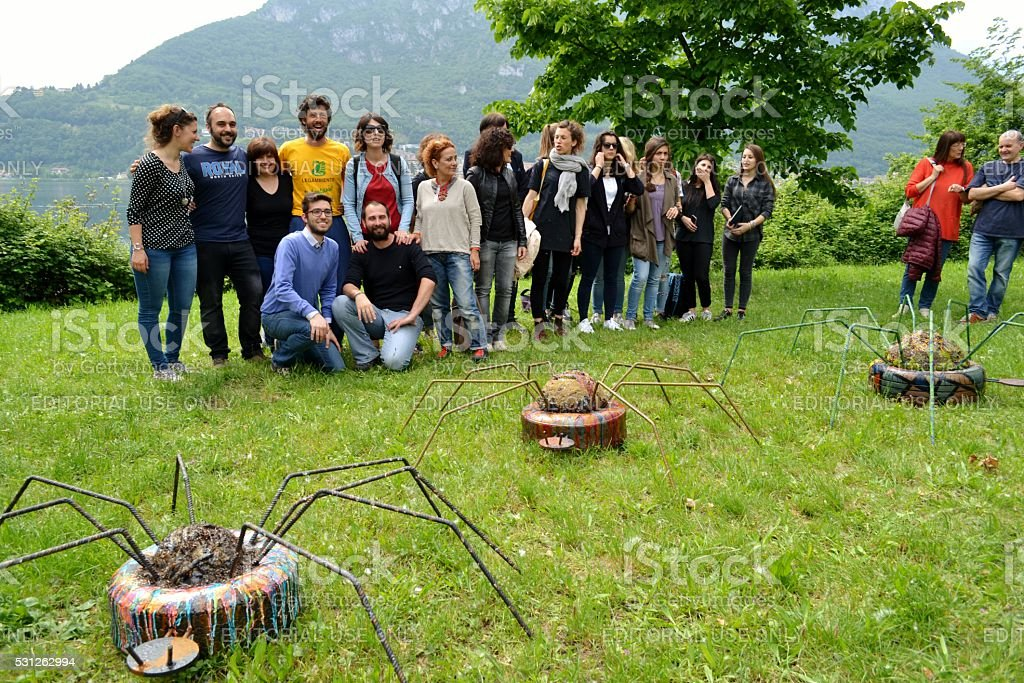 Lecco environmentalists are posing for artist Franca Carzaniga event. stock photo