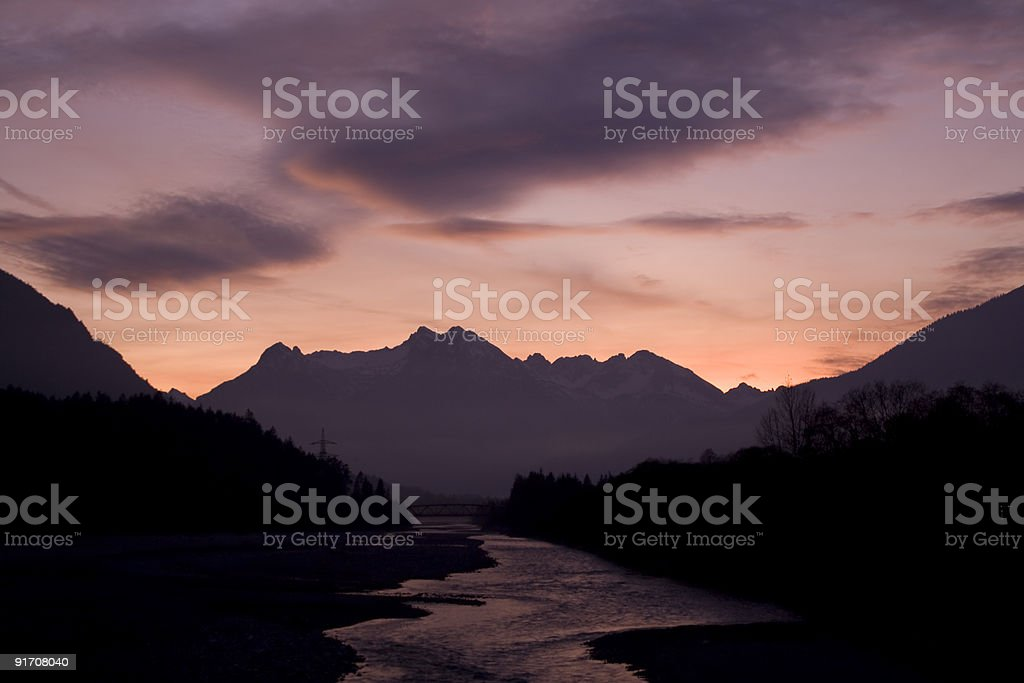 lech river sunset royalty-free stock photo