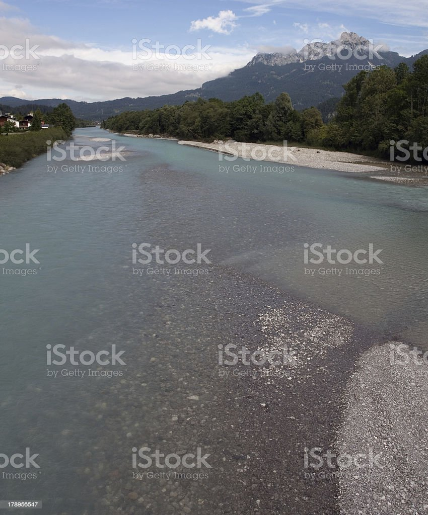 Lech river with Säuling mountain stock photo