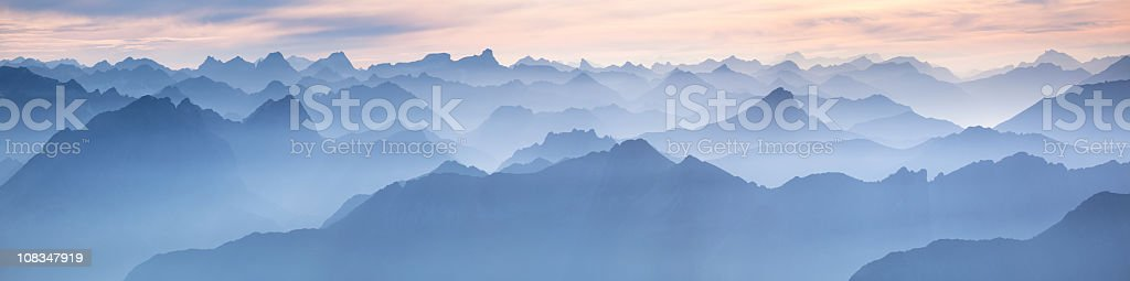 lechtal panorama from mt. zugspitze - germany royalty-free stock photo