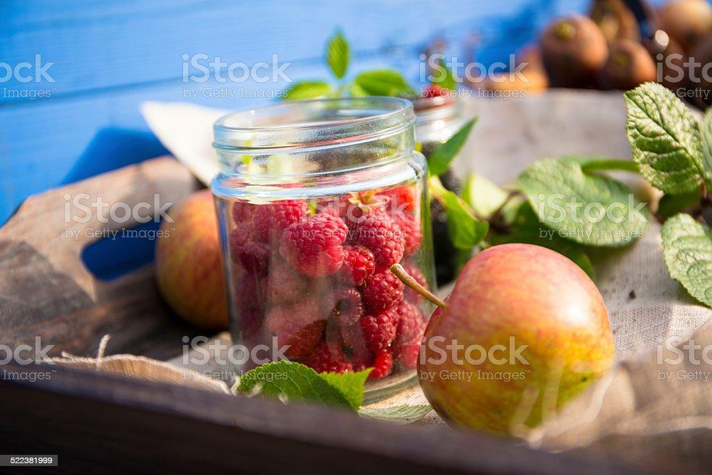 Leckere Brombeeren und Heidelbeeren im Glas stock photo